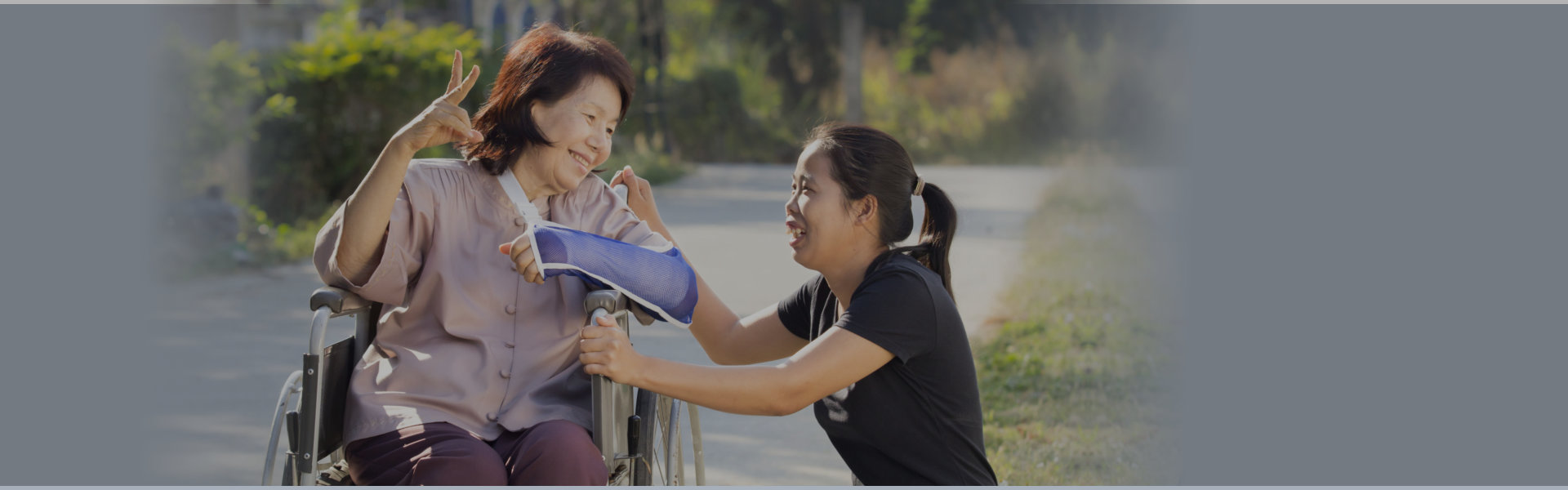 disabled old woman with the young woman